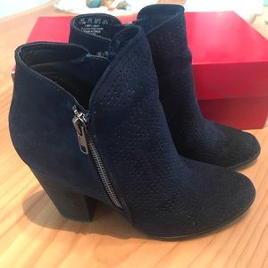 Navy Blue Heeled Ankle Booties